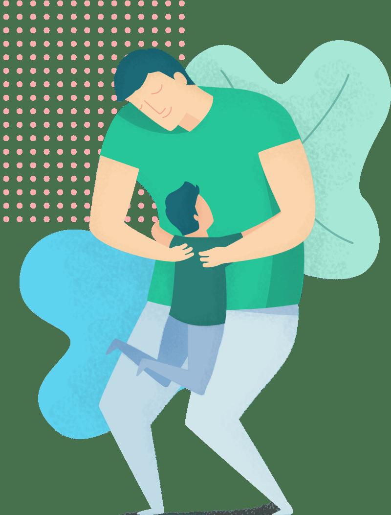 Adulte qui prend un enfant dans ses bras
