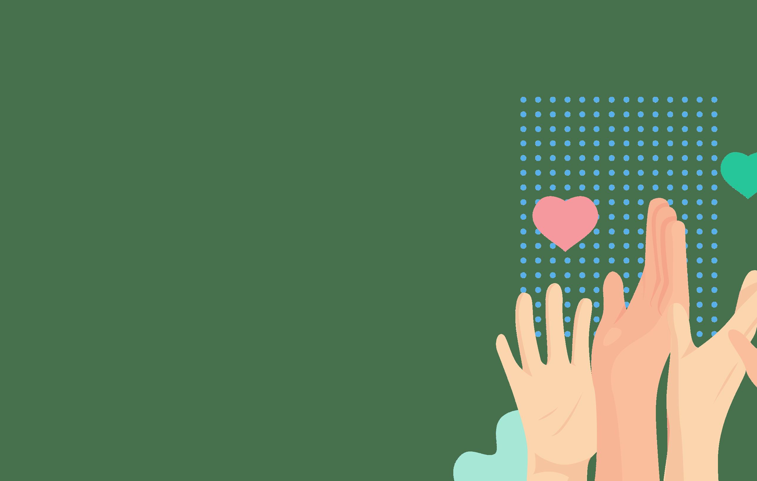 mains en l'air et coeurs