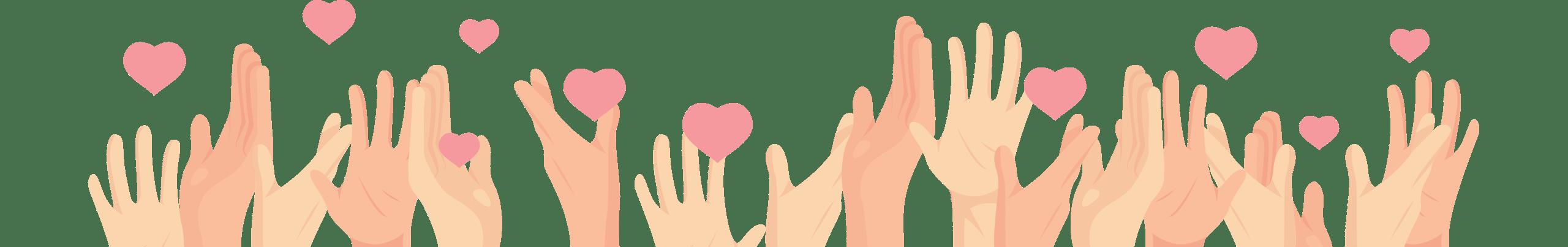 Mains qui se lèvent avec des coeurs